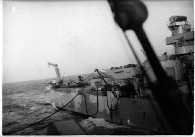 Fueling at sea from USS Manchester 1950
